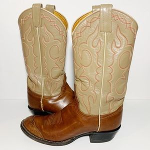 Tan and Brown Leather Cowboy Western Boots